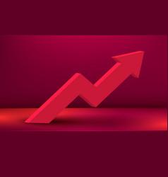 modern growing arrow on scene podium finance vector image