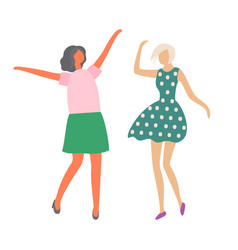 moving girls female characters dancing isolated vector image