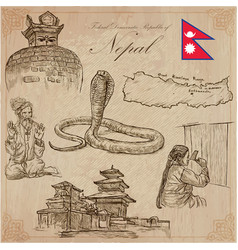 nepal - pictures of life travel collection hand vector image