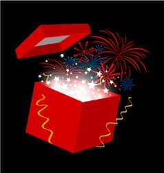 New year gift box on black background vector