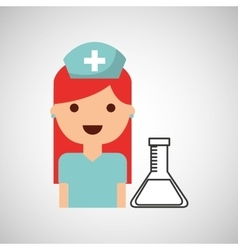 nurse character test tube science chemical esign vector image