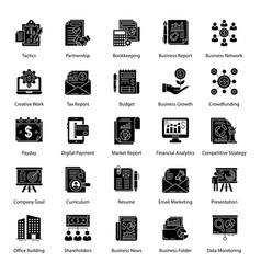 Pack business glyph icons vector