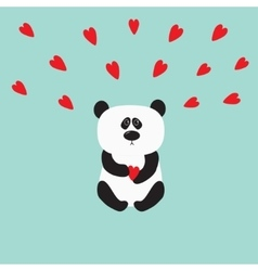 Panda baby bear Cute cartoon character holding vector