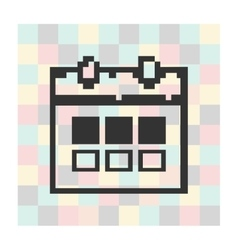 Pixel icon calendar on a square background vector