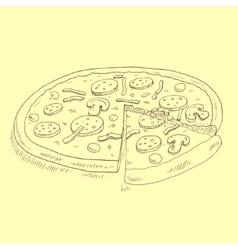Pizza sketch vector image vector image
