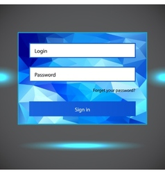 Polygonal blue login form vector image