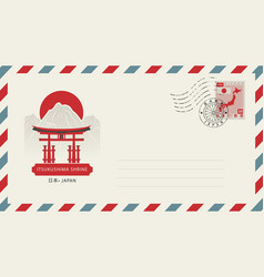 Postal envelope with japanese landmark and symbols vector