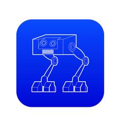 Robot ostrich icon blue vector