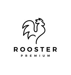 rooster line outline monoline logo icon vector image