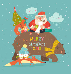 santa claus riding on the back of friendly bear vector image