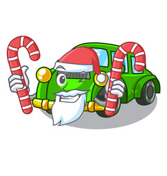 Santa with candy classic car toys in cartoon shape vector