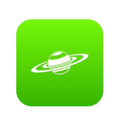 saturn rings icon digital green vector image