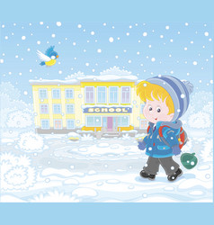 Schoolboy going to school in winter vector