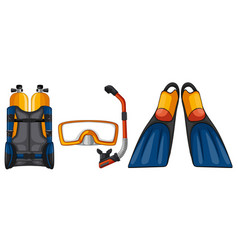 scuba diving equipments in yellow and blue color vector image