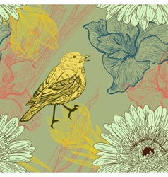 Seamless background with handdrawn birds and vector