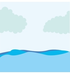 Seascape water sky icon vector