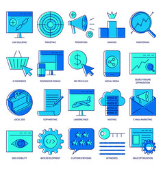 Seo icon set in colored line style vector