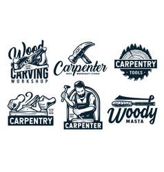 Set carpentry emblems for wood carving joiner vector