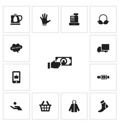 set of 13 editable shopping icons includes vector image