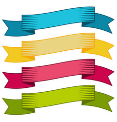 set of four multicolor ribbons and banners vector image