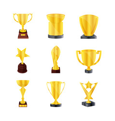 set of kind golden trophies golden bowls vector image