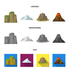 Sheer cliffs a volcanic eruption a mountain with vector