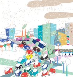 Snow in a City vector