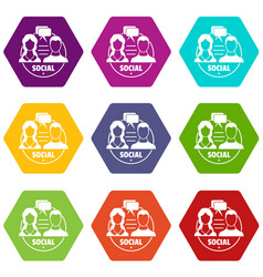 social icons set 9 vector image