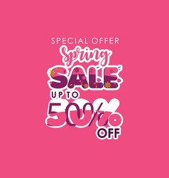 Spring sale special offer up to 50 off template vector