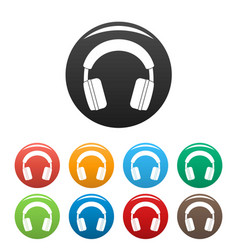 stereo headphones icons set color vector image