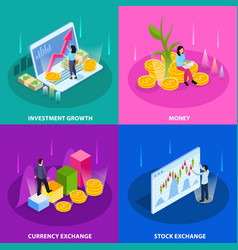 stock exchange isometric icon set vector image