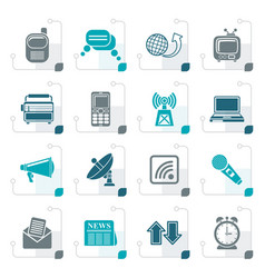 stylized communication and connection icons vector image