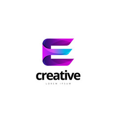 vibrant trendy colorful creative letter e logo vector image