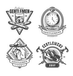 vintage monochrome gentleman prints set vector image