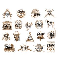 Western symbols cowboy apache wild west icons vector