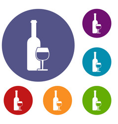 Wine bottle and glass icons set vector