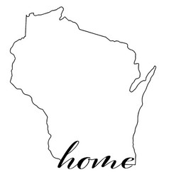 wisconsin state map outline with home vector image