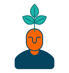 young business manager icon plant grows from head vector image