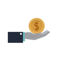 cartoon hand holding coin money image vector image