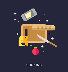 Cooking concept cutting board with cheese bread vector