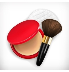 Face powder and brush vector image vector image