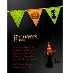 halloween black cat party background vector image vector image
