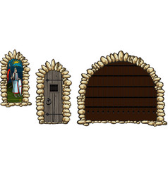 medieval windows and doors vector image