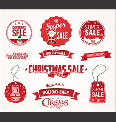 super sale christmas badges and labels collection vector image