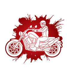 a man riding motorbike vector image