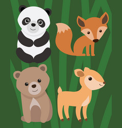 a set of cartoon animals for vector image vector image