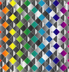 Colorful metal grid background vector image