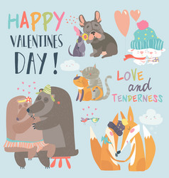 cute animals couples in love collection vector image