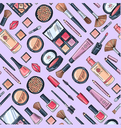 hand drawn makeup products pattern or vector image