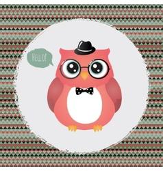Hipster Owl in Textured Frame design vector image